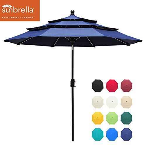 EliteShade Sunbrella 9Ft 3 Tiers Market Umbrella Patio Outdoor Table Umbrella with Ventilation and 5 Years Non-Fading Top,Navy Blue