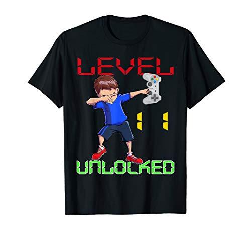 - Level 11 Unlocked-11th Birthday Boy Dabbing Shirt Gift Gamer