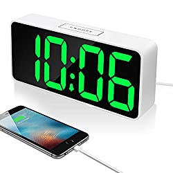 9 Large LED Digital Alarm Clock with USB Port for Phone Charger, 0-100% Dimmer,Touch-Activated Snooze, Outlet Powered…