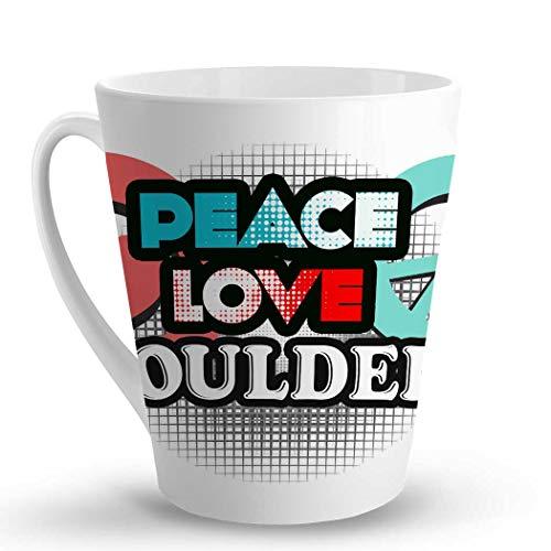 (Makoroni - PEACE LOVE BOULDER - 12 Oz. Unique LATTE MUG, Coffee Cup )