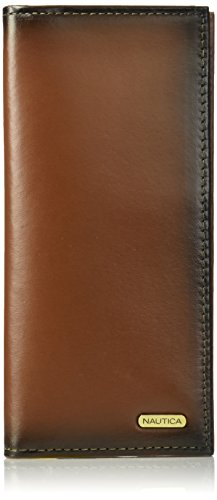 Nautica  Men's  Leather Secretary Checkbook Wallet Organizer,Tan