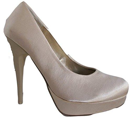 Prima Donna Beige (Nude) Satin Plateforme Cour Chaussures avec Talon 12,7cm