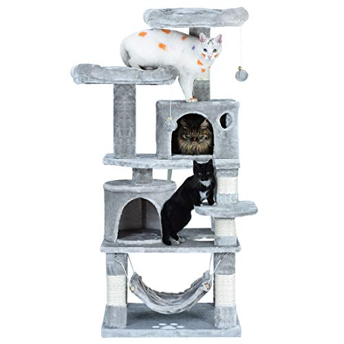 2019 Upgraded Cat Condos and Towers, Cat Activity Tree with Step for Kitten or Large Old Kitty to Climb up Jump Down (Inches 24 Cat Tower Condo)