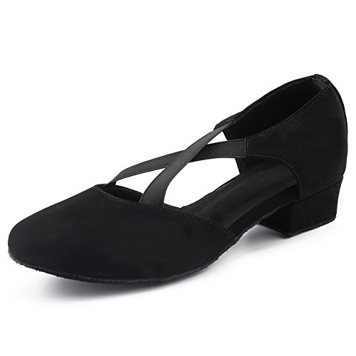 LOVELY BEAUTY Lady's Ballroom fabricmps Dance Shoes,Black Fabric, 1.4