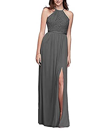 Now and Forever Women's Flowy Evening Dress Halter Lace Side Slit Bridesmaid Wedding Party Gown (Dark Gray,22W)