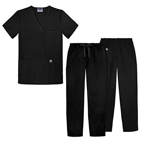 Sivvan Unisex Classic Scrub Set V-neck Top / Drawstring Pants (Available in 12 Solid Colors) - S8400 - Black - L