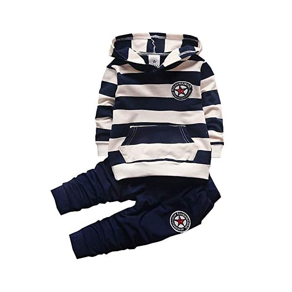 Toddler Baby Boys Clothes Set Kids Infant Hoodies Striped Tops+Pants 2pcs Fall Cute Outfits