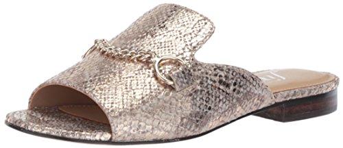 Metallic Embossed Leather (The Fix Women's Nikole Open Toe Slide with Chain Detail Flat Sandal, Gold/Metallic Snake Embossed Leather, 8 B US)