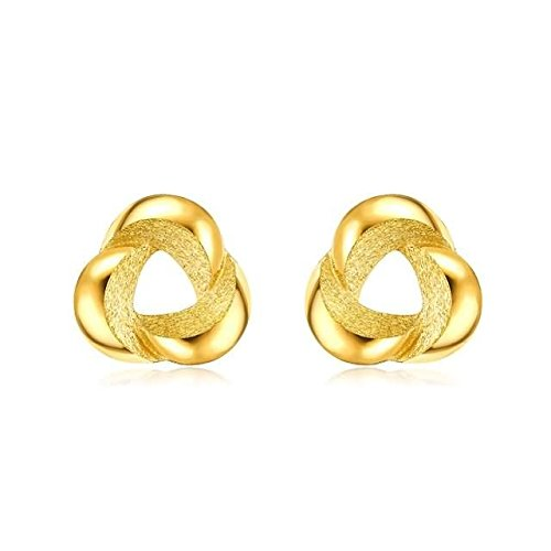 Beydodo 2.68g 24K Yellow Gold 999 Stud Earrings for Womens Frosted Flowers Earrings Stud for Wedding by Beydodo