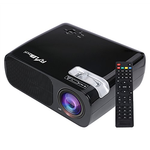 Flylinktech BL-20 HD 2600 Lumens 800480 Resolution Multimedia 1080P Projector LED Video Projector Support HDMI VGA AV USB for Home Cinema Theater Child Games (Black)