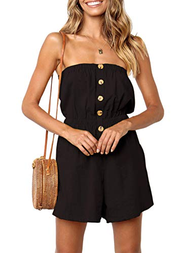 - ZESICA Women's Summer Off Shoulder Strapless Solid Color Button Down Elastic Waist Short Jumpsuit Romper Black