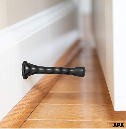 10 Pack of Spring Door Stops Black - 3 ¼ Inch Heavy Duty Door Stop - Traditional Spring Door Stop with Rubber Bumper by Ilyapa (Image #5)