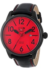 3H Men's 3H06 Oceandiver Black Ion-Plated Stainless Steel Red Dial Date Watch