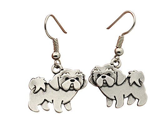 Cute Vintage Shih Tzu Dog Drop Earrings Shih Tzu Earring