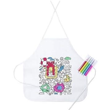 Lote 15 Delantales Infantiles para Colorear y Pintar, 5 rotuladores Colores incluidos en Cada uno. Regalo Ideal Fiestas, cumpleaños,Eventos.