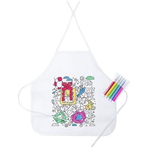Lote 15 Delantales Infantiles para Colorear y Pintar, 5 rotuladores Colores incluidos en Cada uno. Regalo Ideal Fiestas, cumpleaños,Eventos. desconocido