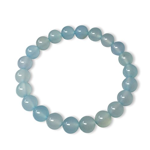 Rings Men's Beaded (Natural Light Blue Crystal Gemstone Bracelet 7 inch Stretchy Chakra Stones Healing Crystal Great Gifts GB8-36)