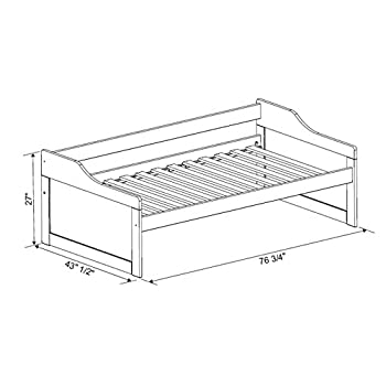 """100% Solid Wood Rio Twin Day Bed by Palace Imports, Java Color, 43.5""""W x 27.5""""H x 77""""L. Optional Trundle, Drawers, Rail Guard Sold Separately. Requires Assembly"""
