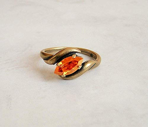 Multi Orange Astral Marquise Antique Brass Ring Size 6 Made With Swarovski Crystal Gift Idea