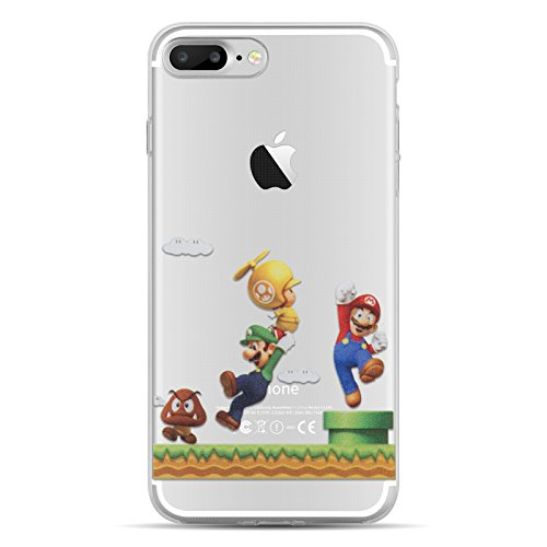 iPhone 7 Plus Case, iPhone 7 Plus Clear Case, JAMMYLIZARD Invisible Gel Sketch Clear Design Back Cover for iPhone 7 Plus, Mario Bros