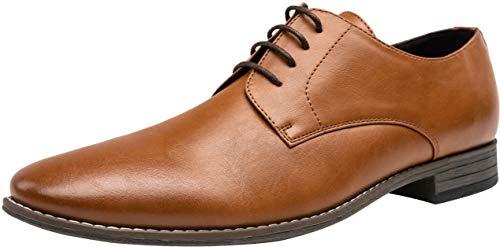 JOUSEN Men's Oxford Plain Toe Dress Shoes Classic Formal Derby Shoes(10.5,Brown) (Best Mens Derby Shoes)