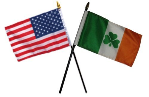 Cardinal Desk Lamp - ALBATROS USA American with Ireland Shamrock Irish Flags 4 inch x 6 inch Desk Set Table with Black Base for Home and Parades, Official Party, All Weather Indoors Outdoors