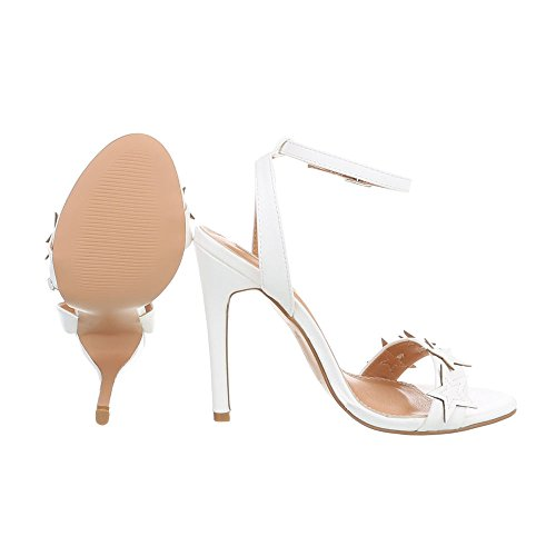 Ital-Design Zapatos Para Mujer Sandalias de Vestir Tacón de Aguja Sandalias de Tacón Blanco B511YH-PB