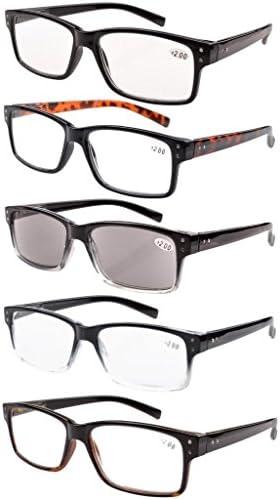 Eyekepper 5-pack Spring Hinges Vintage Reading Glasses Men Includes Sun Readers...