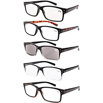 Eyekepper 5-pack Spring Hinges Vintage Reading Glasses Men Includes Sun Readers +1.25