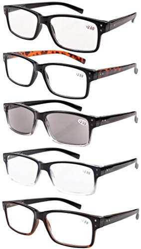 Sun Readers Men Reading Glasses - Eyekepper 5-pack Spring Hinges Vintage Reading Glasses Men Includes Sun Readers +2.50