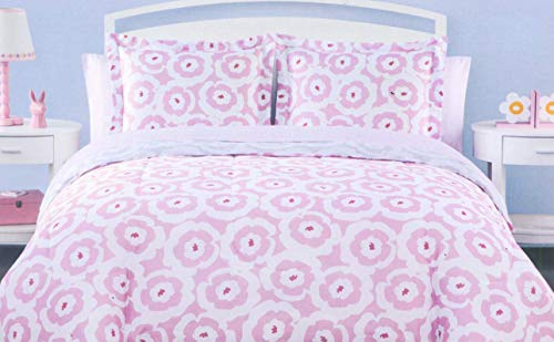 Pink Flower Power Comforter Set with Sheet Set and Sham in Groovy Floral Print ()