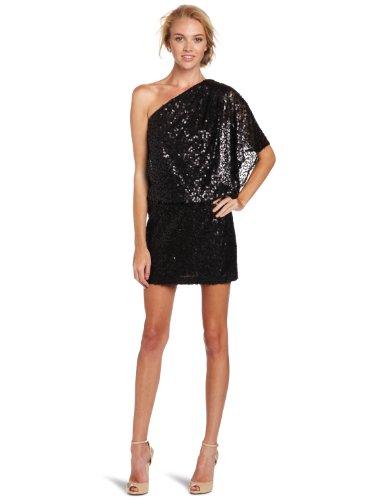 Jessica Simpson Women's One-Shoulder Sequin Dress, Black, 12