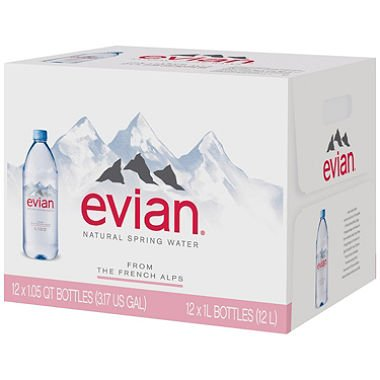 Evian Natural Spring Water (1L, 12 pk.) (pack of 6) by evian