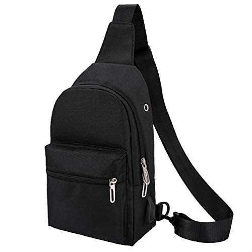 (Black Sports Men Mens Sling Backpack Breathable Lightweight Chest Bag Leather Tactical Shoulder Bags Packs Day Pack Daypack Cross Body Crossbody for Women Men Teens Waterproof Hiking Travel Bag USB)