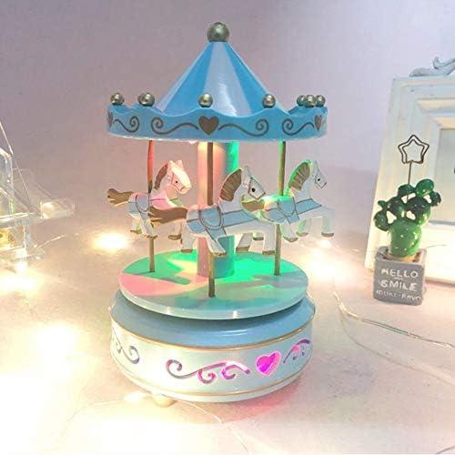 Karussell H/ölzernes Vintage Spieluhr 4 Pferd Rotierende Musikbox mit bunter Beleuchtung Spieluhrenwelt LED Leuchtend Spielzeug Dekoration Weihnachten Geschenk f/ür M/ädchen Kinder