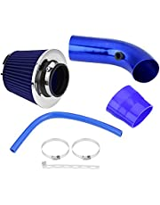 Acouto Air Intake Filter,76mm 3 Inch (Universal) Car Automobile Racing Cold Air Intake Filter Aluminum Induction Hose Pipe System Kit