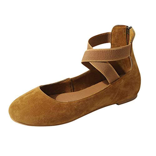 Auniemifly Ladies Cross Strap Low Heel Flock Flat Covered Toe Back Zipper Sandals Casual Solid Color Shoes Loafers Brown
