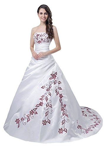 Snowskite Women's Strapless Satin Embroidery Wedding Dress Bridal Gown Ivory&Burgundy 12