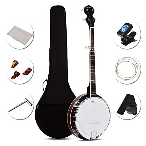 Costzon 5-String Banjo 24 Bracket with Geared 5th tuner and Mid-range Closed Handle, Include 420D Oxford Cloth Bag, One Strap, Wiper, 3 Picks for Beginners