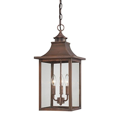 Charles Hanging - St. Charles Collection Hanging Lantern 3-Light Outdoor Aged Brass Light Fixture Model-8316AB