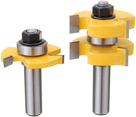 Queenwind 2pcs 1/2 インチシャンク舌と溝のルータビットは木工カッターほぞカッターを設定します