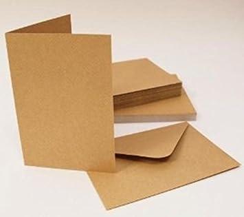 Pack De 30 En Blanco Natural Kraft Cartas Y Sobres 300 gsm 4 x 4