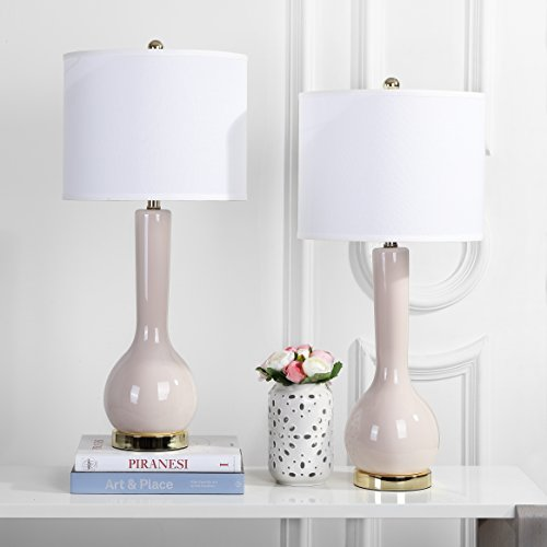 Safavieh Lighting Collection Mae Long Neck Ceramic Table Lamp, Pearl Grey, Set of 2 ()