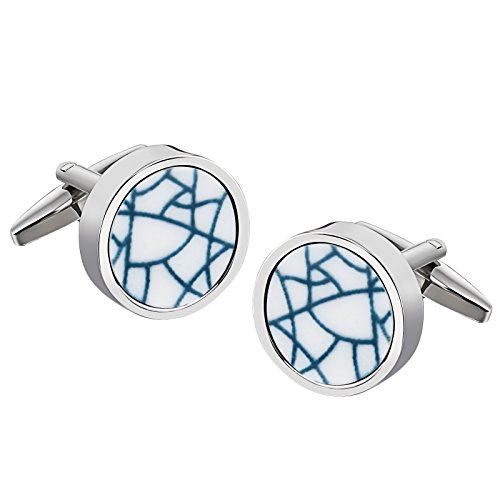 Epinki Stainless Steel Round Line White Cufflinks for Men Bussiness Wedding Gift-with Gift Box (Miami Hurricanes Round Crystal)