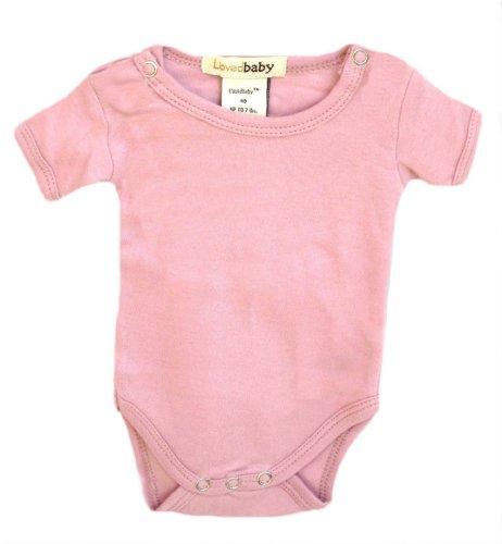 L'ovedbaby Short-Sleeve Bodysuit, Pink 0-3 Months