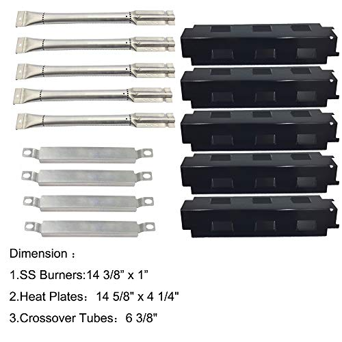 Sunshineey Parts Kit (5-Pack) Repair Kit Replacement Charbroil 6 Burner Gas Grill Stainless Steel Burners, Crossover Tubes & Porcelain Steel Heat Plates (Burner Six Gas Grill)