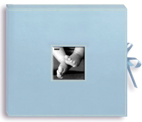 Pioneer 12 Inch by 12 Inch 3-Ring Leatherette Inset Frame and Ribbon Closure Memory Book Box, Baby (Photo Album Baby Blue)