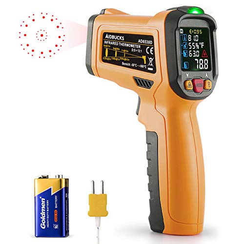 - Infrared Thermometer AIDBUCKS AD6530D Digital Laser Non Contact Cooking IR Temperature Gun -58°F to 1472°F with Color Display K-Type Thermocouple for Kitchen Food Meat BBQ Automotive and Industrial