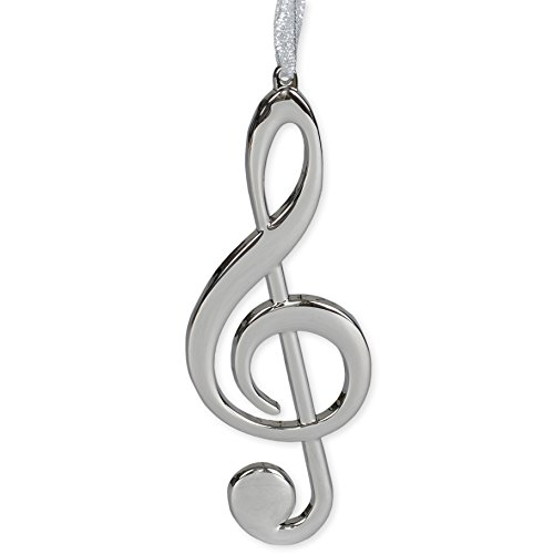 Silver Treble Clef Music Instrument Replica Christmas Ornament, Size 5 inch (Ornaments Notes Music Christmas)