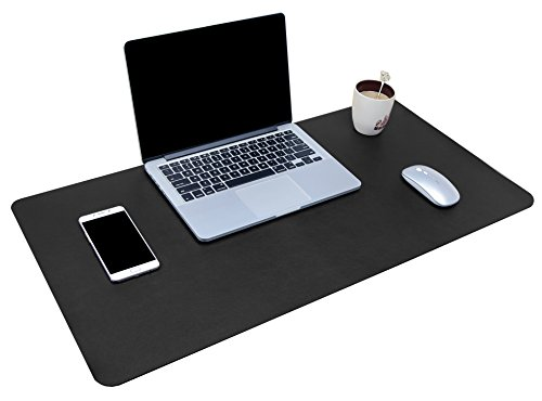 "Multifunctional Office Desk Pad, 31.5"" x 15.7"" YSAGi Ultra Thin Waterproof PU Leather Mouse Pad, Dual Use Desk Writing Mat for Office/Home (31.5"" x 15.7"", Black)"
